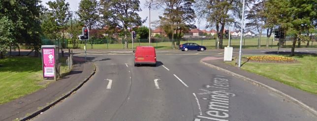 T-junction at Fleming Terrace and Kilwinning Road